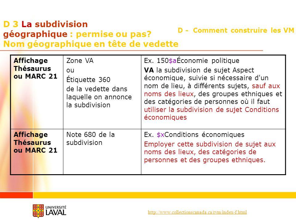 http://www.collectionscanada.ca/rvm/index-f.html D - Comment construire les VM D 3 La subdivision géographique : permise ou pas? Nom géographique en t