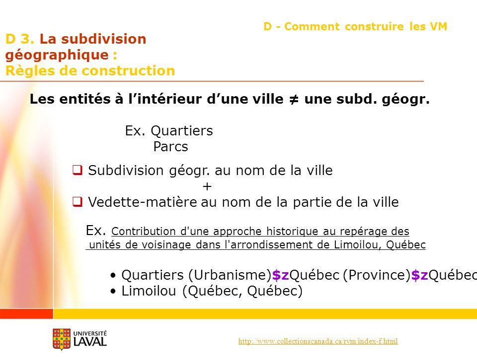 http://www.collectionscanada.ca/rvm/index-f.html D 3. La subdivision géographique : Règles de construction D - Comment construire les VM Les entités à