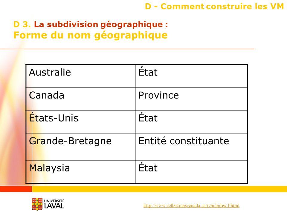 http://www.collectionscanada.ca/rvm/index-f.html D - Comment construire les VM AustralieÉtat CanadaProvince États-UnisÉtat Grande-BretagneEntité constituante MalaysiaÉtat D 3.