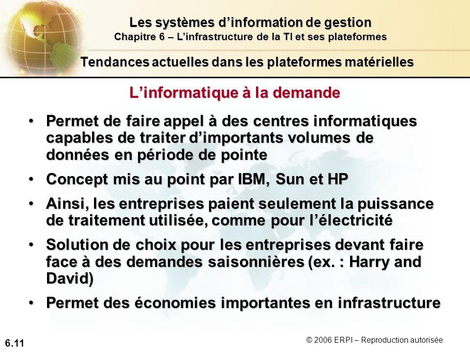 6.11 Les systèmes dinformation de gestion Chapitre 6 – Linfrastructure de la TI et ses plateformes © 2006 ERPI – Reproduction autorisée Tendances actu