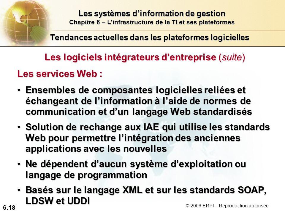 6.18 Les systèmes dinformation de gestion Chapitre 6 – Linfrastructure de la TI et ses plateformes © 2006 ERPI – Reproduction autorisée Tendances actu