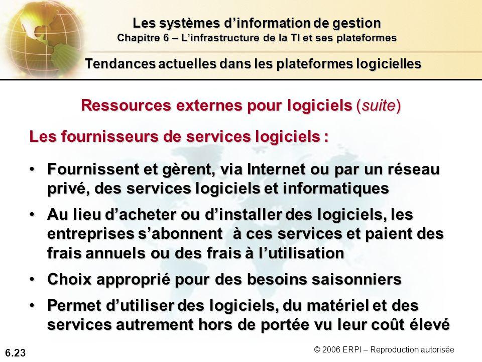6.23 Les systèmes dinformation de gestion Chapitre 6 – Linfrastructure de la TI et ses plateformes © 2006 ERPI – Reproduction autorisée Tendances actu
