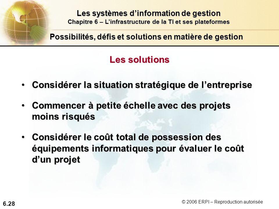 6.28 Les systèmes dinformation de gestion Chapitre 6 – Linfrastructure de la TI et ses plateformes © 2006 ERPI – Reproduction autorisée Possibilités,