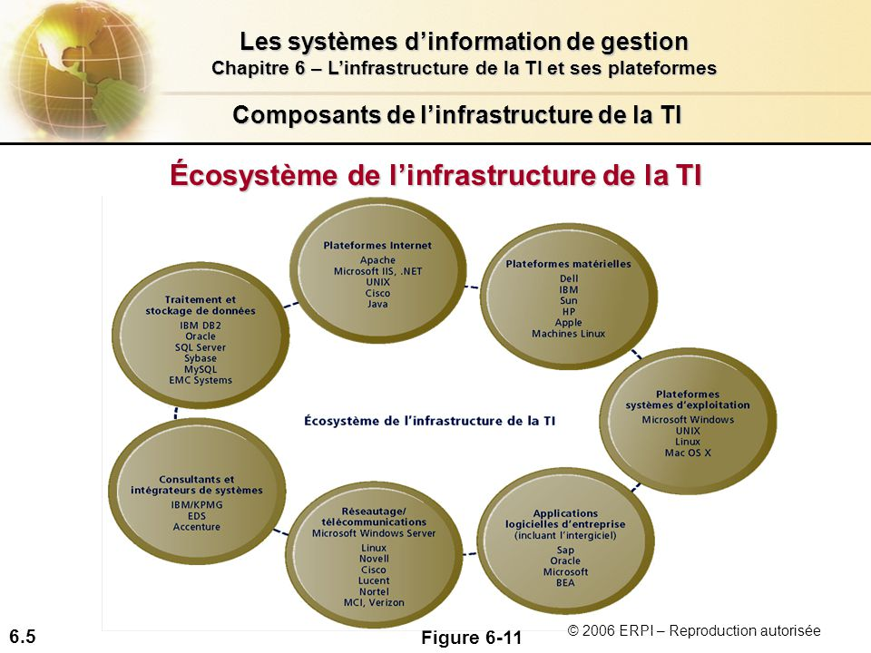 6.5 Les systèmes dinformation de gestion Chapitre 6 – Linfrastructure de la TI et ses plateformes © 2006 ERPI – Reproduction autorisée Composants de linfrastructure de la TI Écosystème de linfrastructure de la TI Figure 6-11