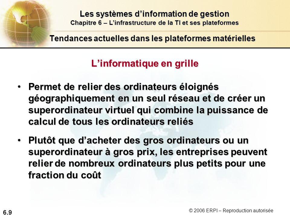 6.9 Les systèmes dinformation de gestion Chapitre 6 – Linfrastructure de la TI et ses plateformes © 2006 ERPI – Reproduction autorisée Tendances actue