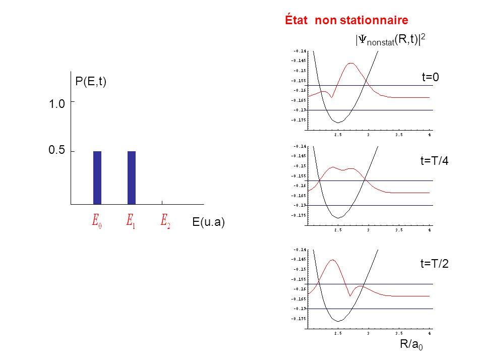État non stationnaire E(u.a) nonstat (R,t)| 2 t=0 t=T/4 t=T/2 R/a 0 0.5 1.0 P(E,t)