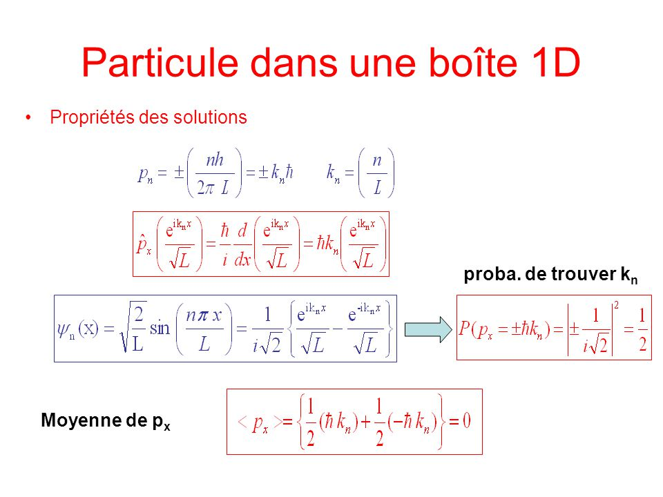 Particule dans une boîte 1D Propriétés des solutions proba. de trouver k n Moyenne de p x