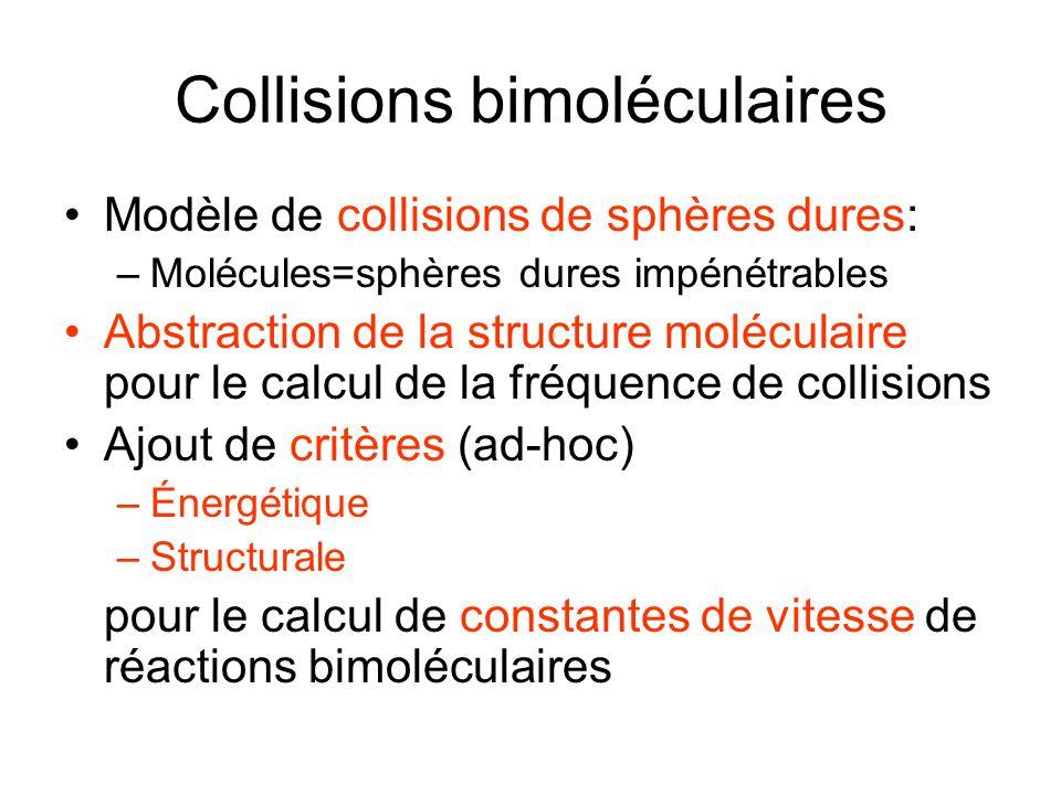 Collisions bimoléculaires Modèle de collisions de sphères dures: –Molécules=sphères dures impénétrables Abstraction de la structure moléculaire pour l