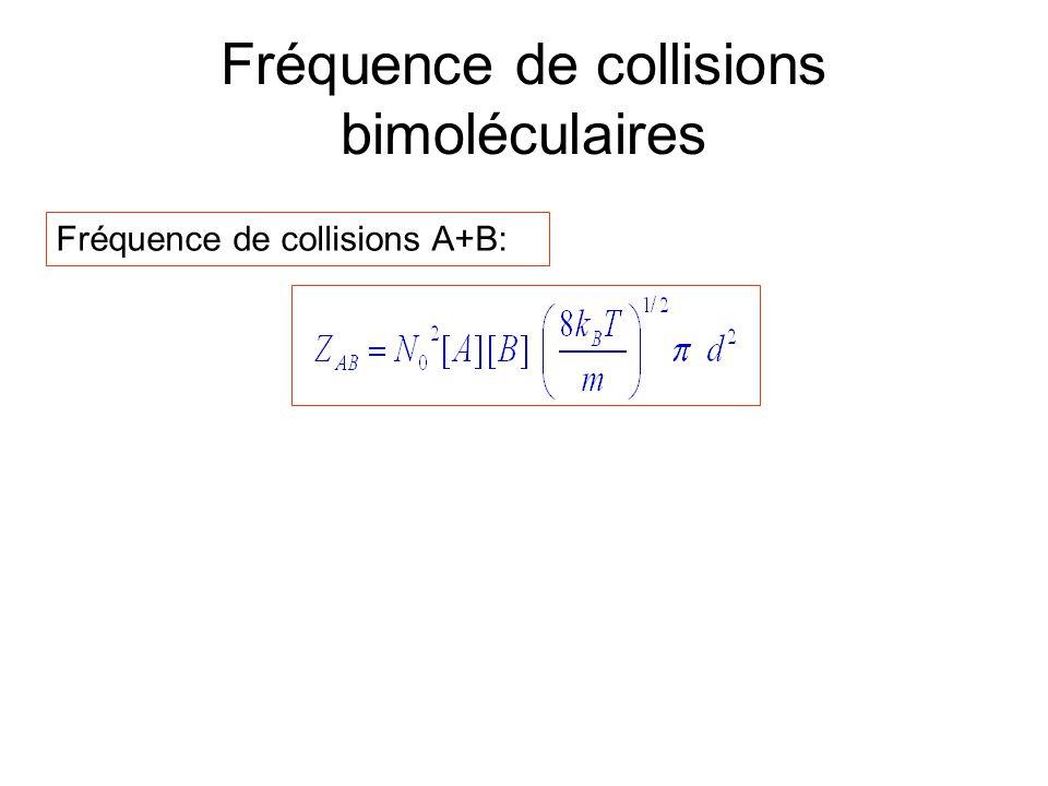 Fréquence de collisions bimoléculaires Fréquence de collisions A+B: