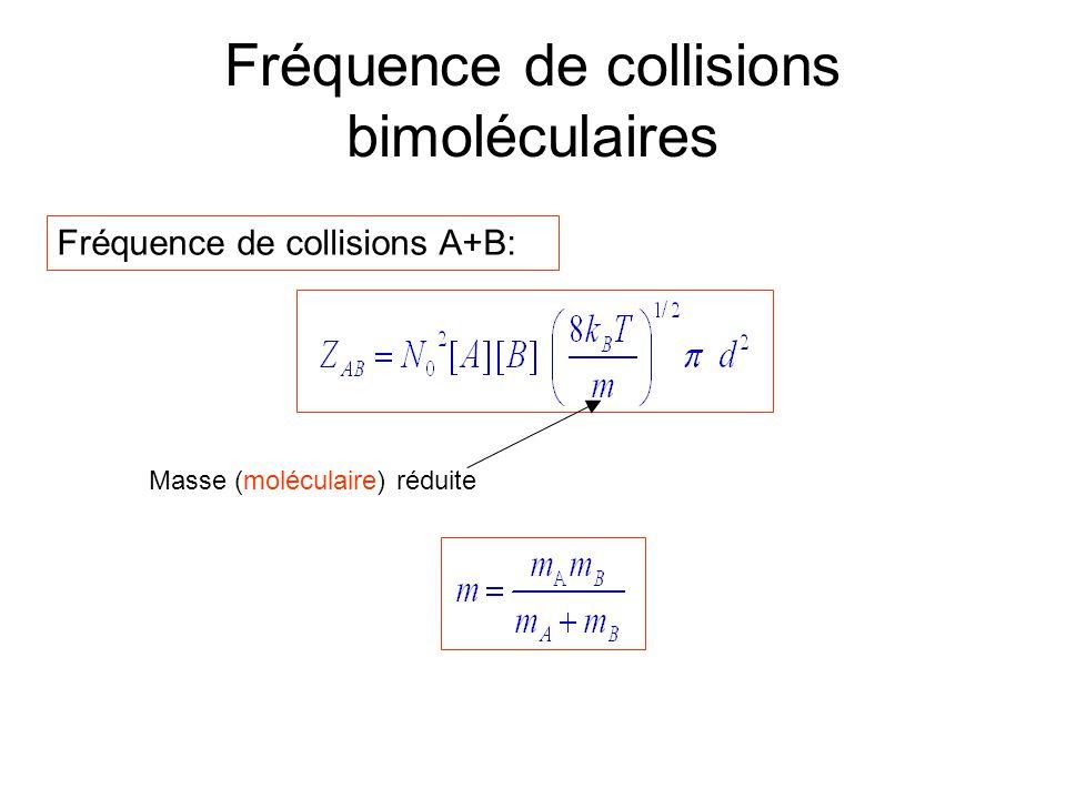 Fréquence de collisions bimoléculaires Fréquence de collisions A+B: Masse (moléculaire) réduite