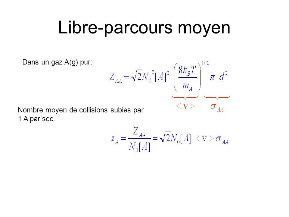 Libre-parcours moyen Dans un gaz A(g) pur: Nombre moyen de collisions subies par 1 A par sec.
