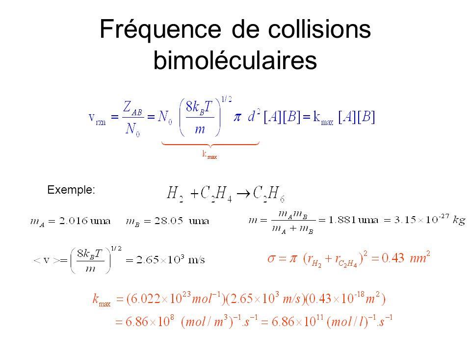 Fréquence de collisions bimoléculaires Exemple: