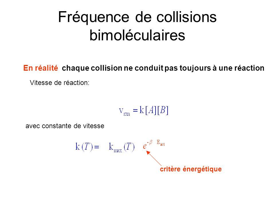 Fréquence de collisions bimoléculaires En réalité chaque collision ne conduit pas toujours à une réaction Vitesse de réaction: avec constante de vites