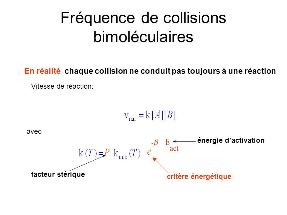 Fréquence de collisions bimoléculaires En réalité chaque collision ne conduit pas toujours à une réaction Vitesse de réaction: avec critère énergétiqu