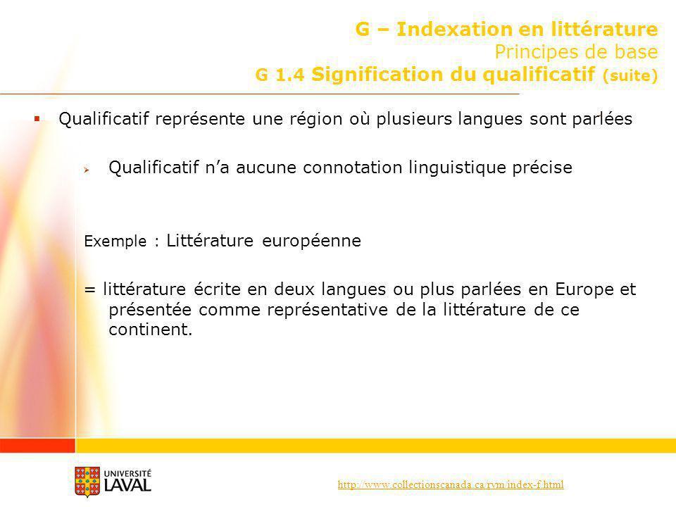 http://www.collectionscanada.ca/rvm/index-f.html G – Indexation en littérature Principes de base G 1.4 Signification du qualificatif (suite) Qualifica