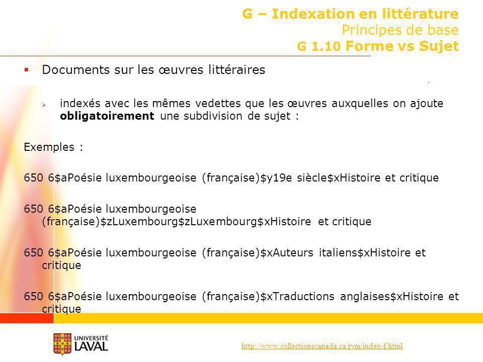 http://www.collectionscanada.ca/rvm/index-f.html G – Indexation en littérature Principes de base G 1.10 Forme vs Sujet Documents sur les œuvres littér
