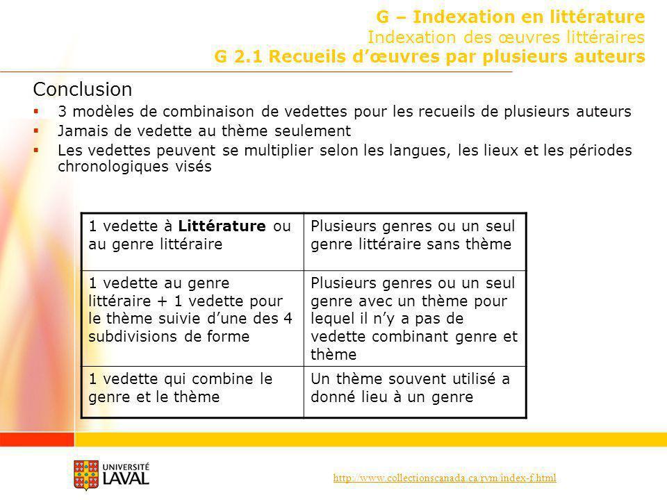http://www.collectionscanada.ca/rvm/index-f.html G – Indexation en littérature Indexation des œuvres littéraires G 2.1 Recueils dœuvres par plusieurs