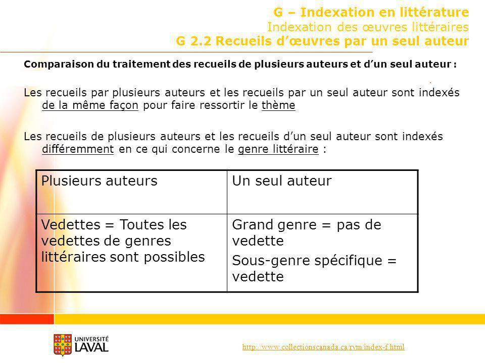 http://www.collectionscanada.ca/rvm/index-f.html G – Indexation en littérature Indexation des œuvres littéraires G 2.2 Recueils dœuvres par un seul au