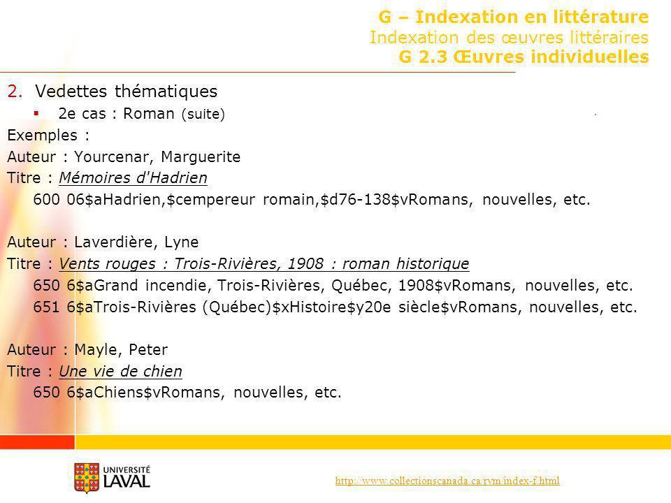 http://www.collectionscanada.ca/rvm/index-f.html G – Indexation en littérature Indexation des œuvres littéraires G 2.3 Œuvres individuelles 2.Vedettes