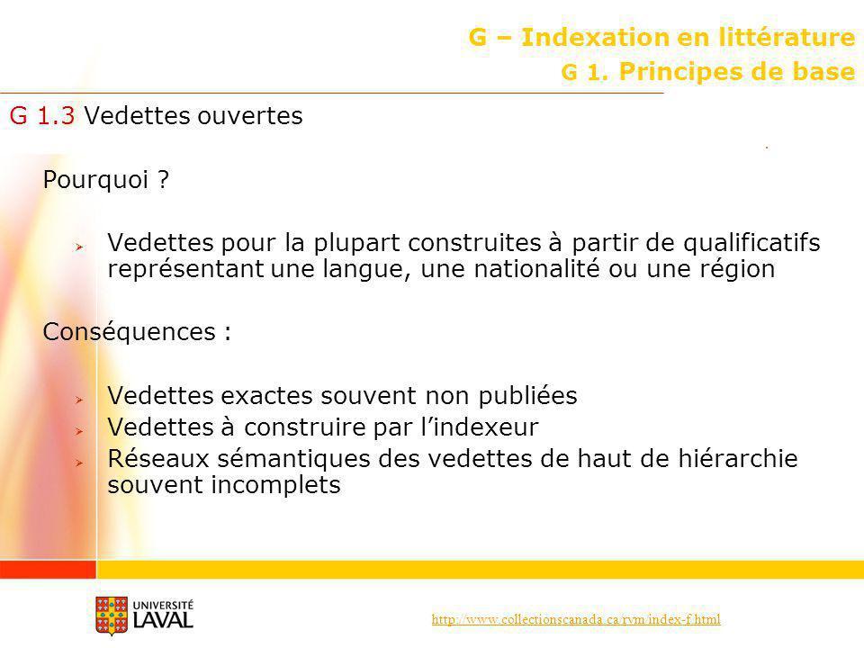 http://www.collectionscanada.ca/rvm/index-f.html G – Indexation en littérature Principes de base G 1.8 Subdivisions de groupes dauteurs (suite) Rappel .