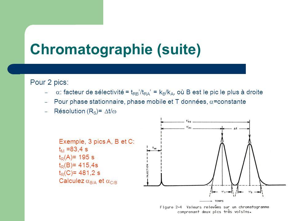 Chromatographie (suite) Pour 2 pics: – : facteur de sélectivité = t RB /t RA = k B /k A, où B est le pic le plus à droite – Pour phase stationnaire, p