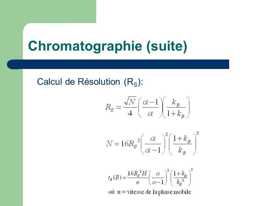 Chromatographie (suite) Calcul de Résolution (R S ):