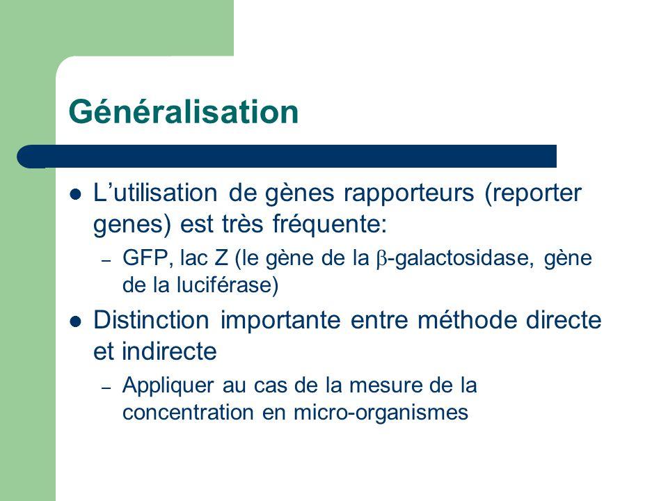 Généralisation Lutilisation de gènes rapporteurs (reporter genes) est très fréquente: – GFP, lac Z (le gène de la -galactosidase, gène de la luciféras