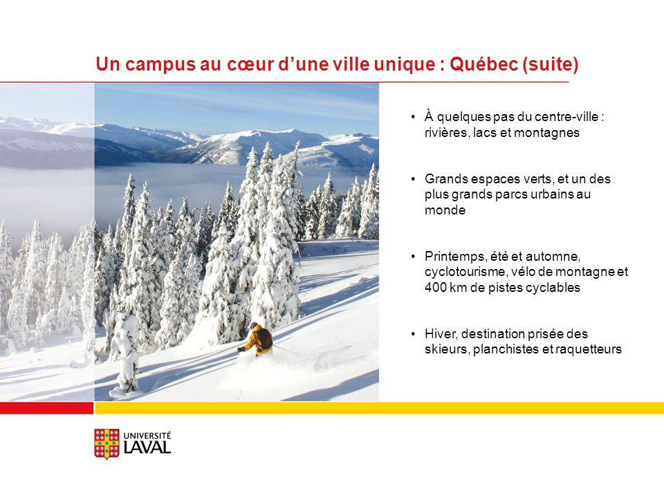 À quelques pas du centre-ville : rivières, lacs et montagnes Grands espaces verts, et un des plus grands parcs urbains au monde Printemps, été et automne, cyclotourisme, vélo de montagne et 400 km de pistes cyclables Hiver, destination prisée des skieurs, planchistes et raquetteurs Un campus au cœur dune ville unique : Québec (suite)