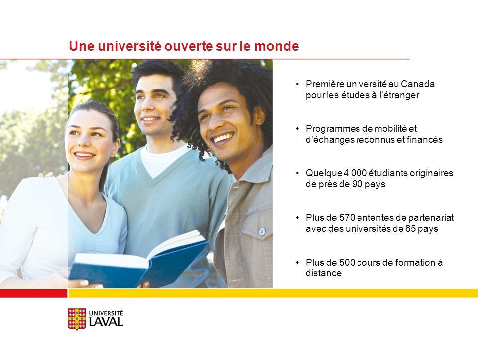 Première université au Canada pour les études à létranger Programmes de mobilité et déchanges reconnus et financés Quelque 4 000 étudiants originaires de près de 90 pays Plus de 570 ententes de partenariat avec des universités de 65 pays Plus de 500 cours de formation à distance Une université ouverte sur le monde