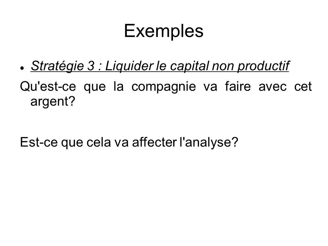 Exemples Stratégie 3 : Liquider le capital non productif Qu est-ce que la compagnie va faire avec cet argent.