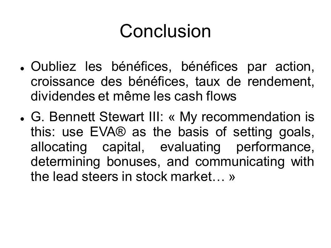 Conclusion Oubliez les bénéfices, bénéfices par action, croissance des bénéfices, taux de rendement, dividendes et même les cash flows G.