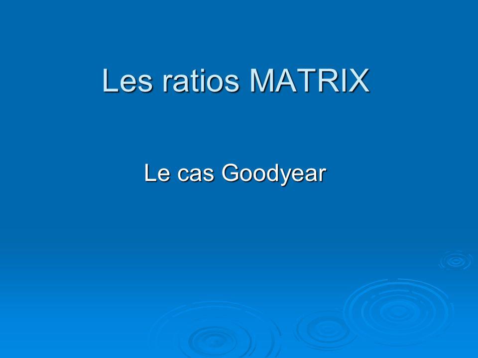 Les ratios MATRIX Le cas Goodyear