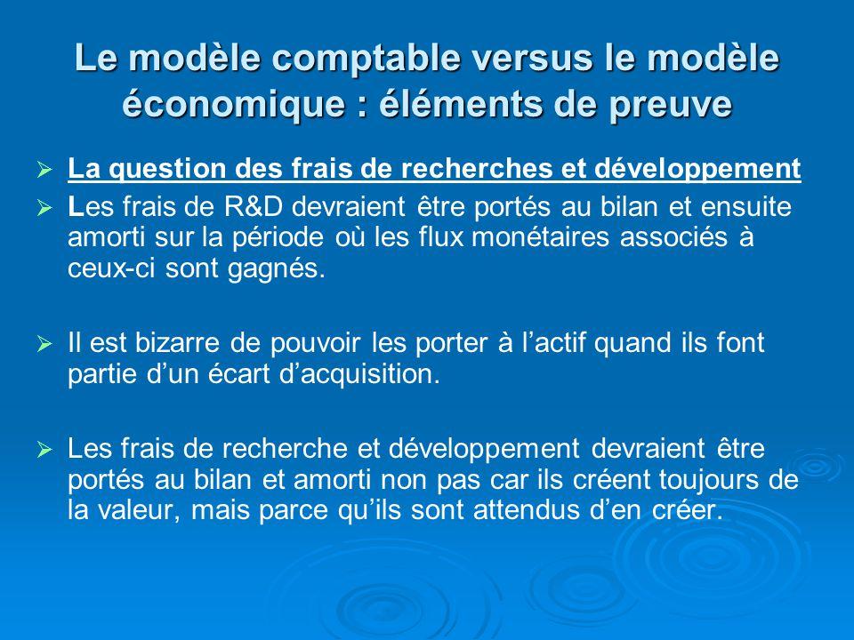 Le modèle comptable versus le modèle économique : éléments de preuve La question des frais de recherches et développement Les frais de R&D devraient être portés au bilan et ensuite amorti sur la période où les flux monétaires associés à ceux-ci sont gagnés.