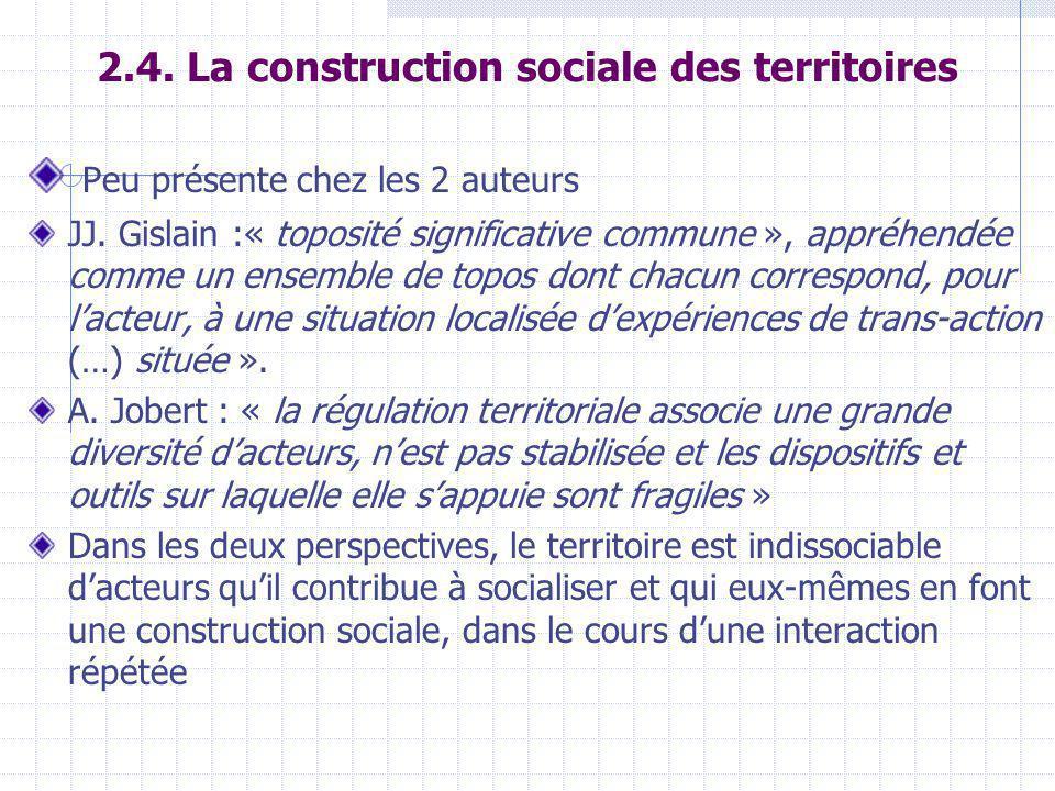 2.4. La construction sociale des territoires Peu présente chez les 2 auteurs JJ.