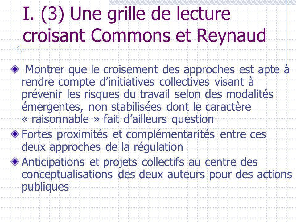 I. (3) Une grille de lecture croisant Commons et Reynaud Montrer que le croisement des approches est apte à rendre compte dinitiatives collectives vis