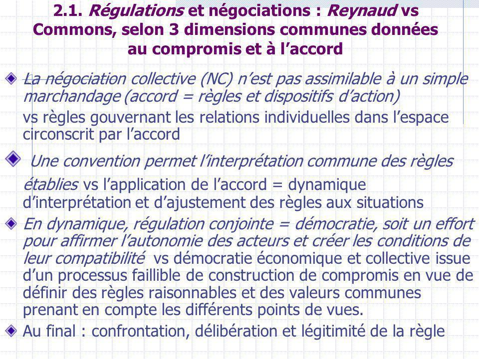 2.1. Régulations et négociations : Reynaud vs Commons, selon 3 dimensions communes données au compromis et à laccord La négociation collective (NC) ne