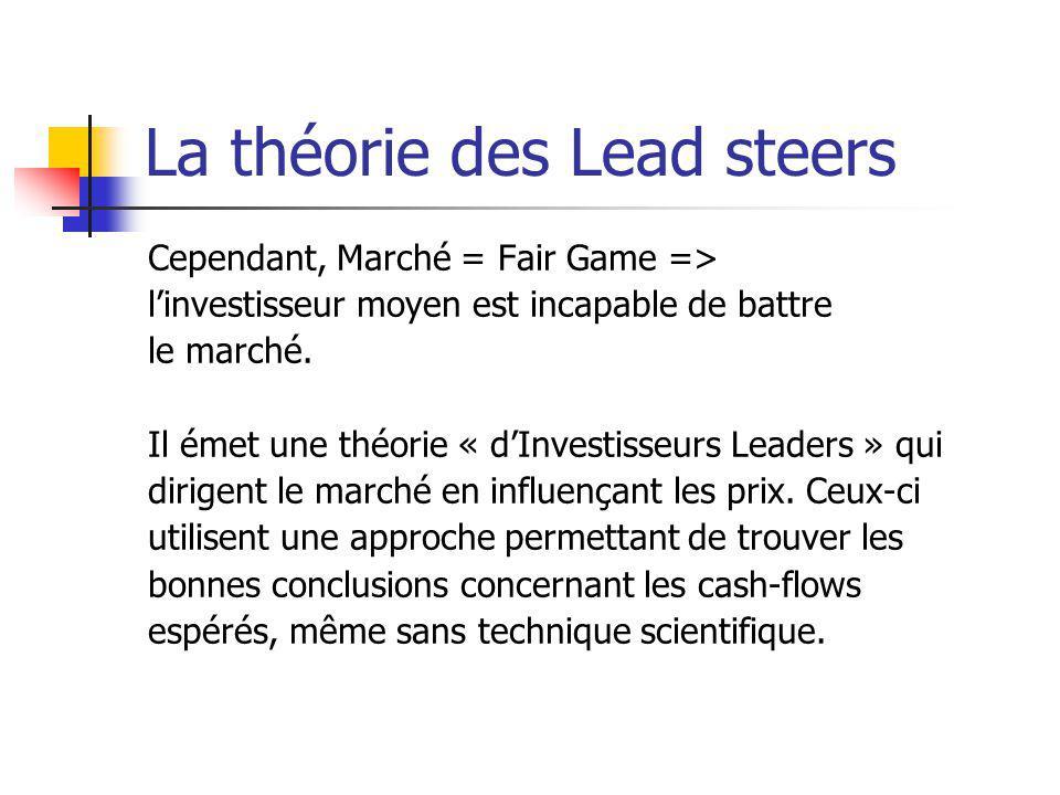La théorie des Lead steers Cependant, Marché = Fair Game => linvestisseur moyen est incapable de battre le marché. Il émet une théorie « dInvestisseur