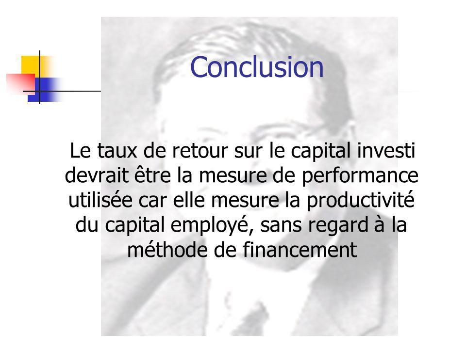 Conclusion Le taux de retour sur le capital investi devrait être la mesure de performance utilisée car elle mesure la productivité du capital employé,