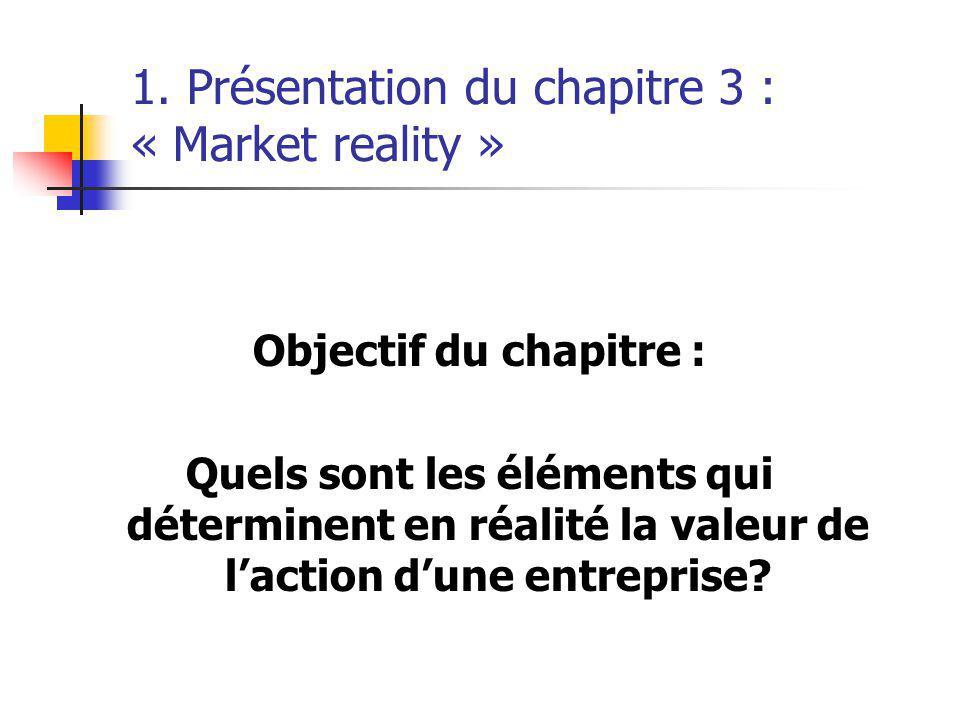 1. Présentation du chapitre 3 : « Market reality » Objectif du chapitre : Quels sont les éléments qui déterminent en réalité la valeur de laction dune