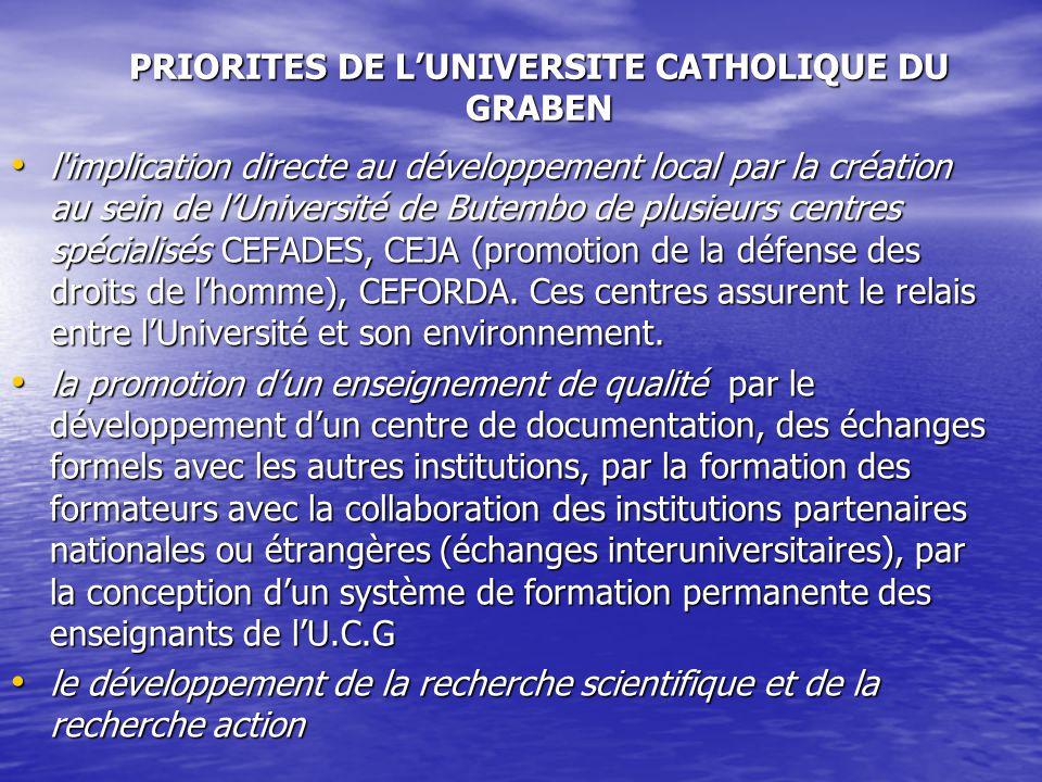 PRIORITES DE LUNIVERSITE CATHOLIQUE DU GRABEN l'implication directe au développement local par la création au sein de lUniversité de Butembo de plusie