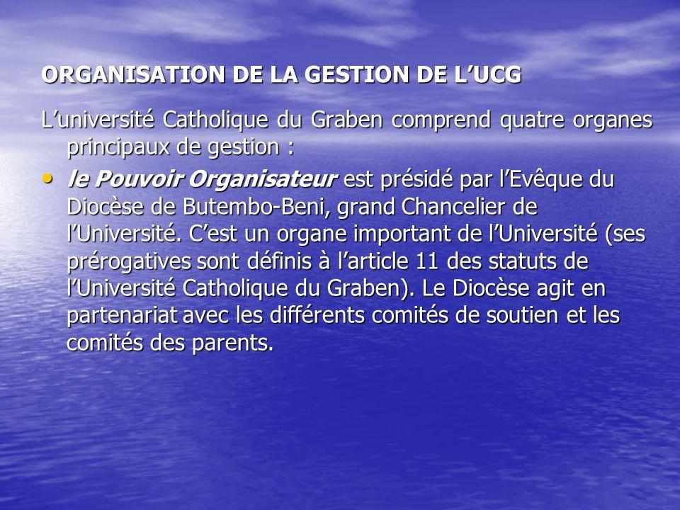 ORGANISATION DE LA GESTION DE LUCG Luniversité Catholique du Graben comprend quatre organes principaux de gestion : le Pouvoir Organisateur est présid