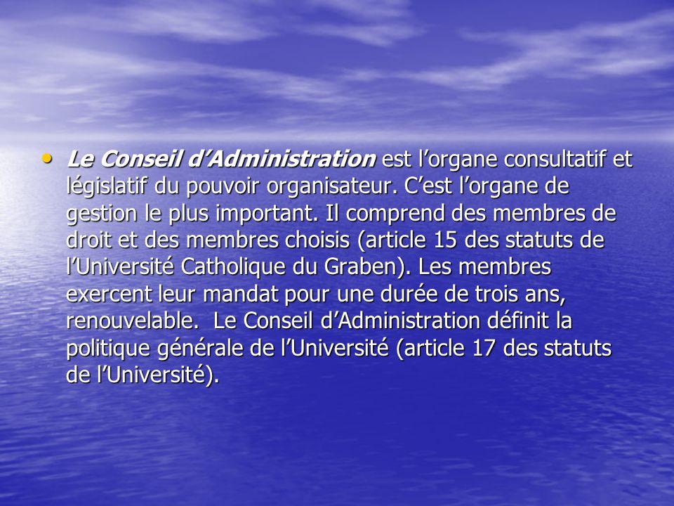 Le Conseil dAdministration est lorgane consultatif et législatif du pouvoir organisateur. Cest lorgane de gestion le plus important. Il comprend des m