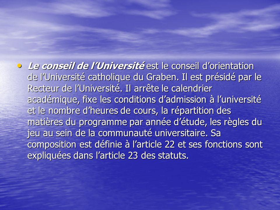 Le conseil de lUniversité est le conseil dorientation de lUniversité catholique du Graben. Il est présidé par le Recteur de lUniversité. Il arrête le
