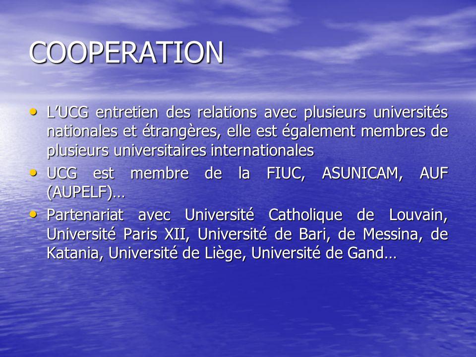 COOPERATION LUCG entretien des relations avec plusieurs universités nationales et étrangères, elle est également membres de plusieurs universitaires i