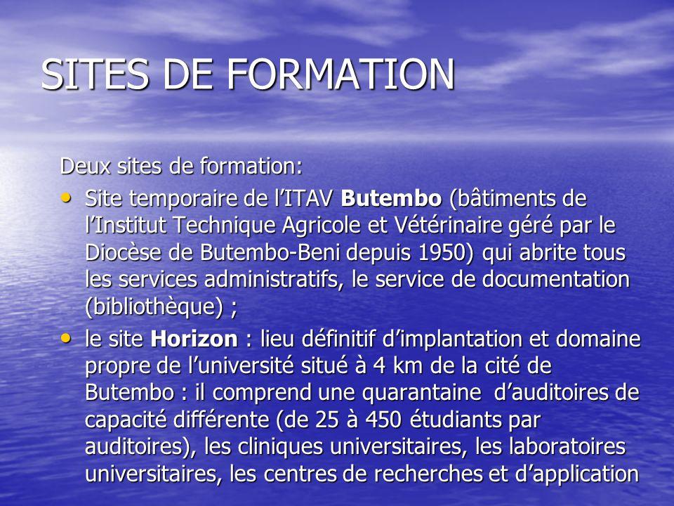 SITES DE FORMATION Deux sites de formation: Site temporaire de lITAV Butembo (bâtiments de lInstitut Technique Agricole et Vétérinaire géré par le Dio