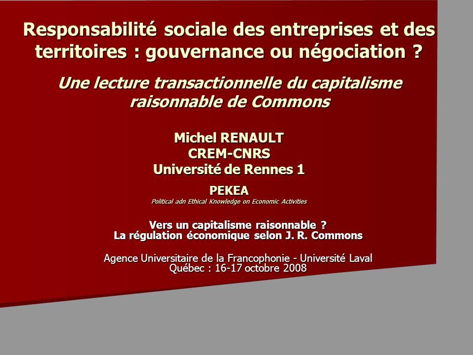Responsabilité sociale des entreprises et des territoires : gouvernance ou négociation .