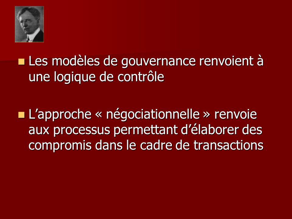 Les modèles de gouvernance renvoient à une logique de contrôle Les modèles de gouvernance renvoient à une logique de contrôle Lapproche « négociationnelle » renvoie aux processus permettant délaborer des compromis dans le cadre de transactions Lapproche « négociationnelle » renvoie aux processus permettant délaborer des compromis dans le cadre de transactions