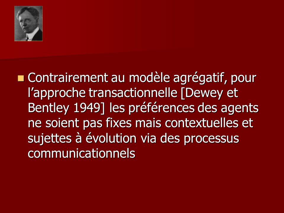 Contrairement au modèle agrégatif, pour lapproche transactionnelle [Dewey et Bentley 1949] les préférences des agents ne soient pas fixes mais context