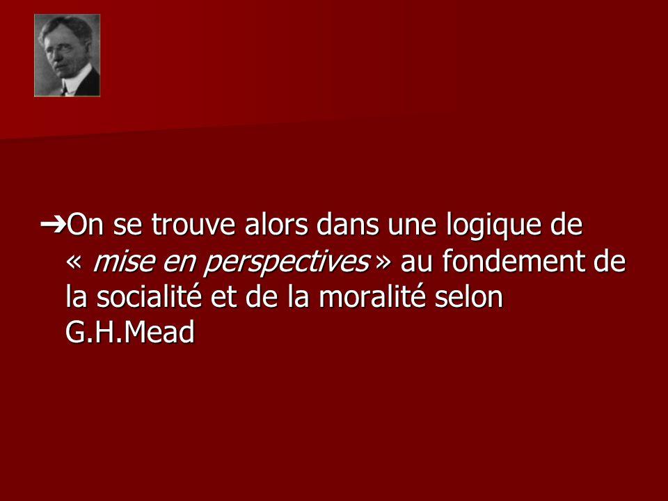 On se trouve alors dans une logique de « mise en perspectives » au fondement de la socialité et de la moralité selon G.H.Mead On se trouve alors dans une logique de « mise en perspectives » au fondement de la socialité et de la moralité selon G.H.Mead