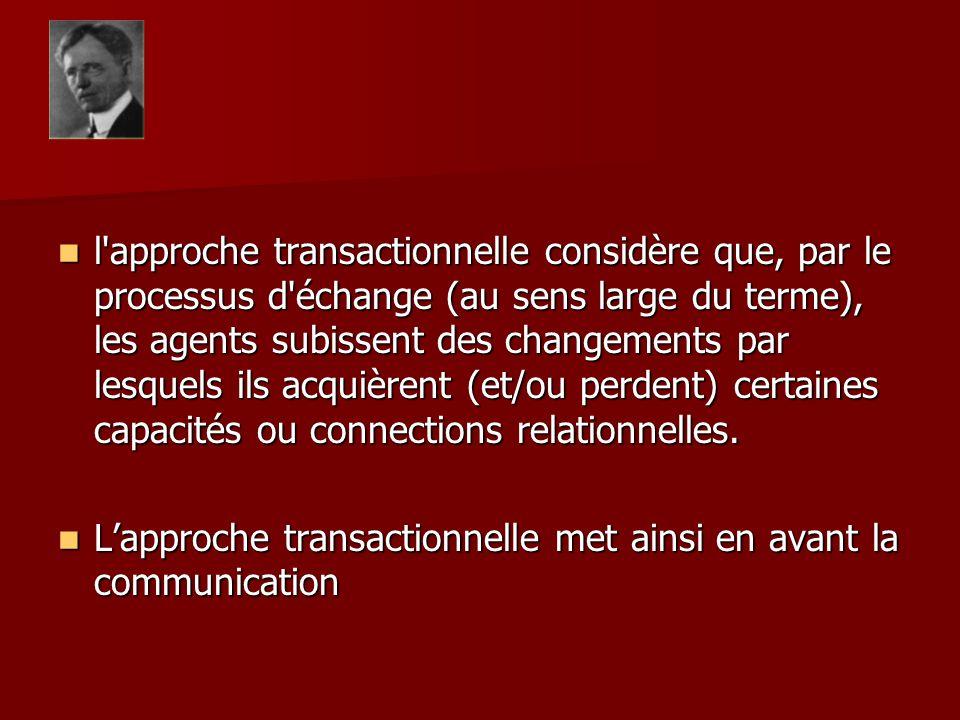 l approche transactionnelle considère que, par le processus d échange (au sens large du terme), les agents subissent des changements par lesquels ils acquièrent (et/ou perdent) certaines capacités ou connections relationnelles.